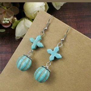 Cute blue Cross earrings new